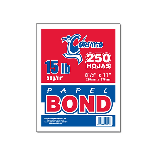 Bond Blanco 15 lb - 250 hojas