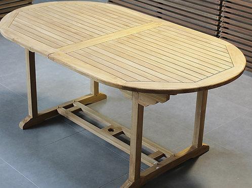 Promo teak tuintafel ovaal + 6 teak plooistoelen + 2 teak stapelstoelen