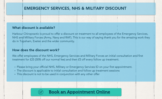 NHS, Emergency Services and Military discount