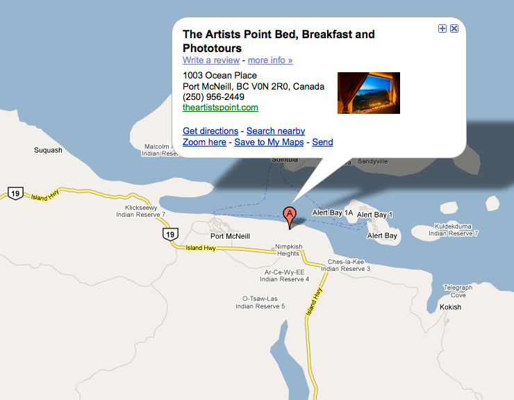 Google Image Map to B&B