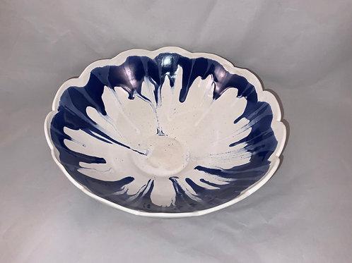 Scallop edge, blue drip bowl