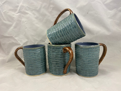 BLue and Copper Mugs