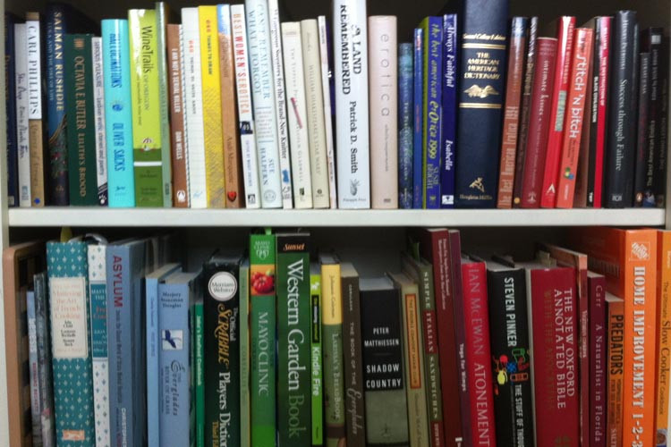 A bookshelf arranged by color featuring a variety of titles.