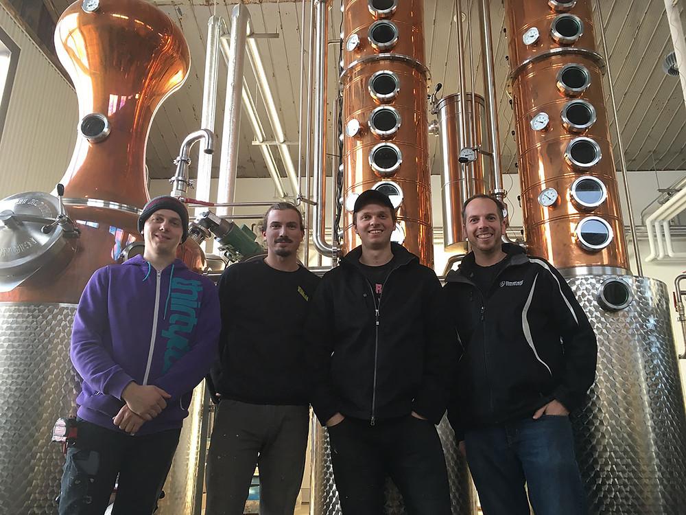Bram Van den Heuvel with the Founders of Willibald Distillery