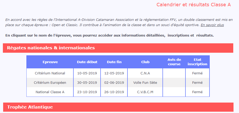Calendrier 2019 AFCCA