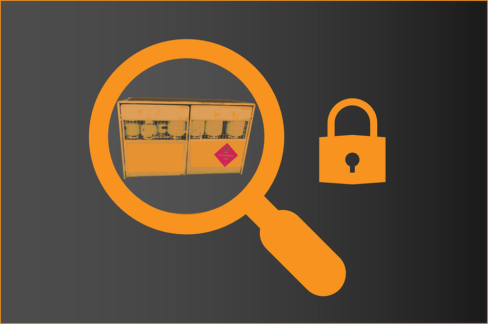 An LPG exchange cage is inside a yellow magnifying glass with a padlock next to it