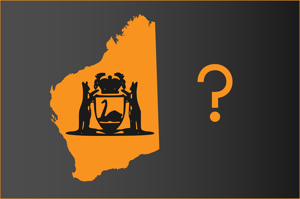 Outline of WA with the state logo and question mark