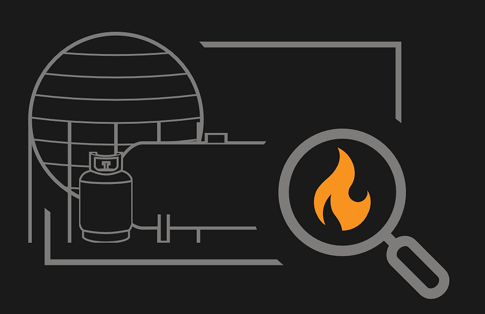 Image of LPG storage tanks with a magnifying glass with a flame inside
