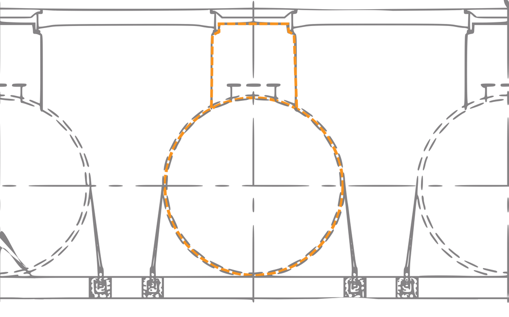 A line drawing of an underground tank fuel farm