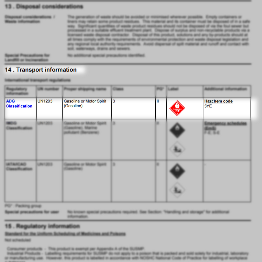 An example safety data sheet with the classification information highlighted