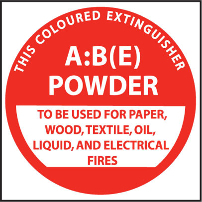 A sign used to identify the location of powder type fire extinguishers