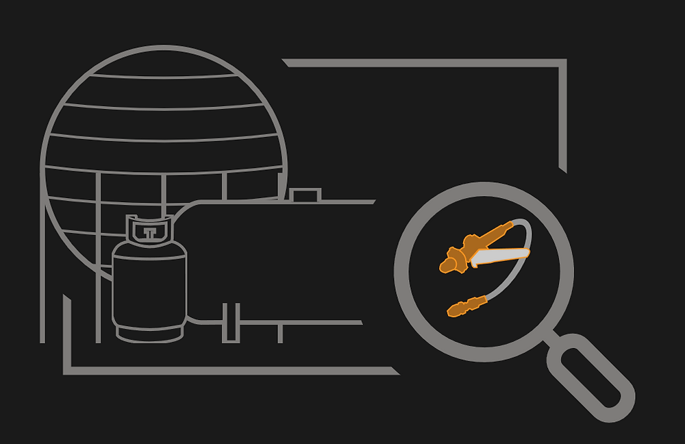 Image of LPG storage tanks with a magnifying glass with a decanting fitting inside