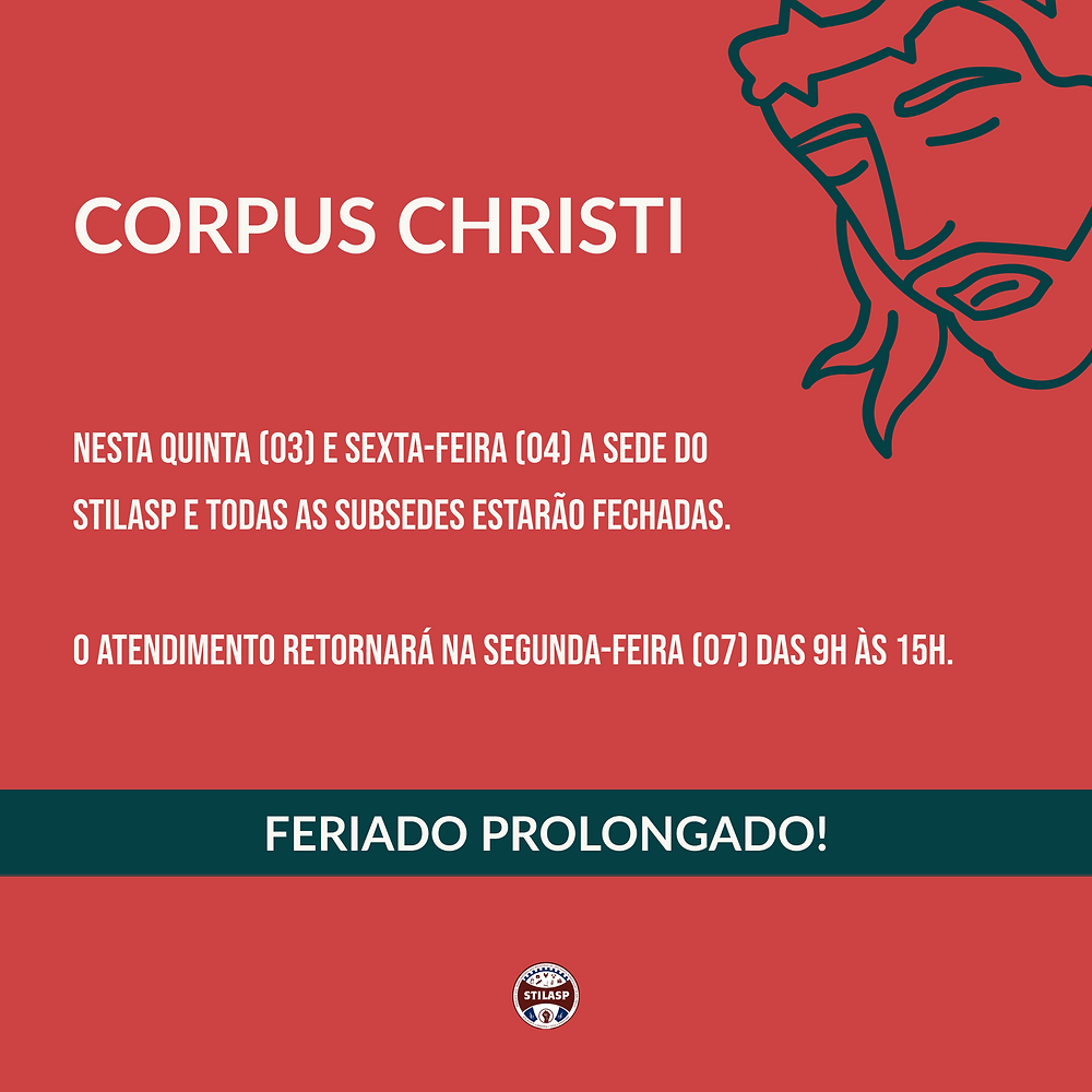 Corpus Christi - Aviso de feriado prolongado