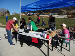 Volunteers manning the table