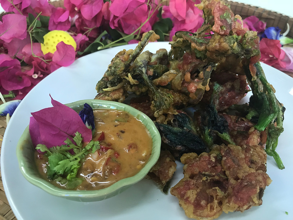 Flower tempura at The Market Experience by Expique in Pak Khlong Talat flower market in Bangkok, Thailand - photo by Chris Wotton