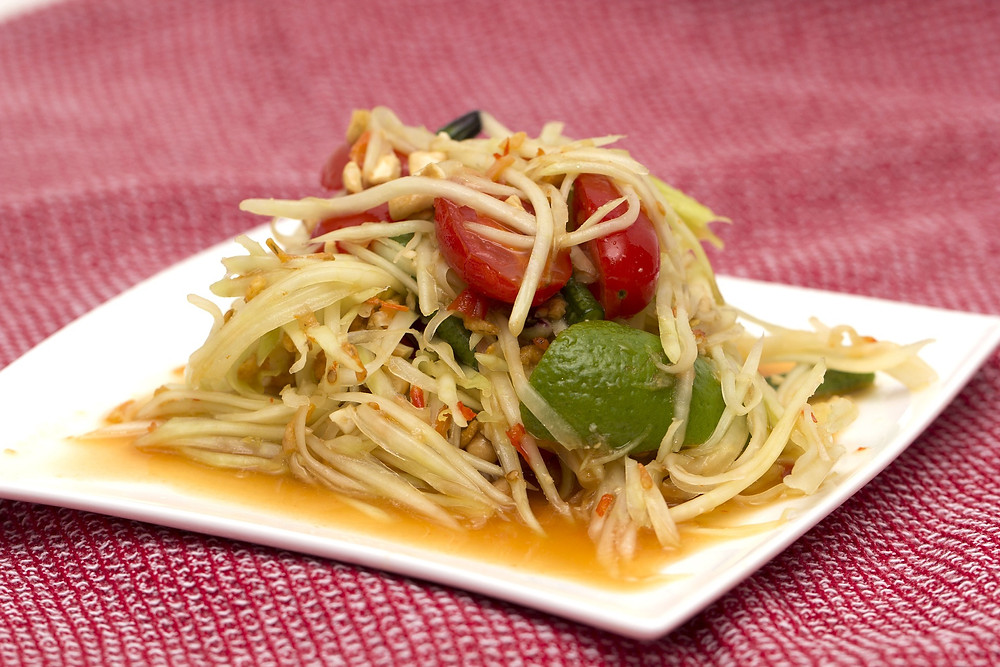 Somtum papaya salad is easily Thailand's national dish