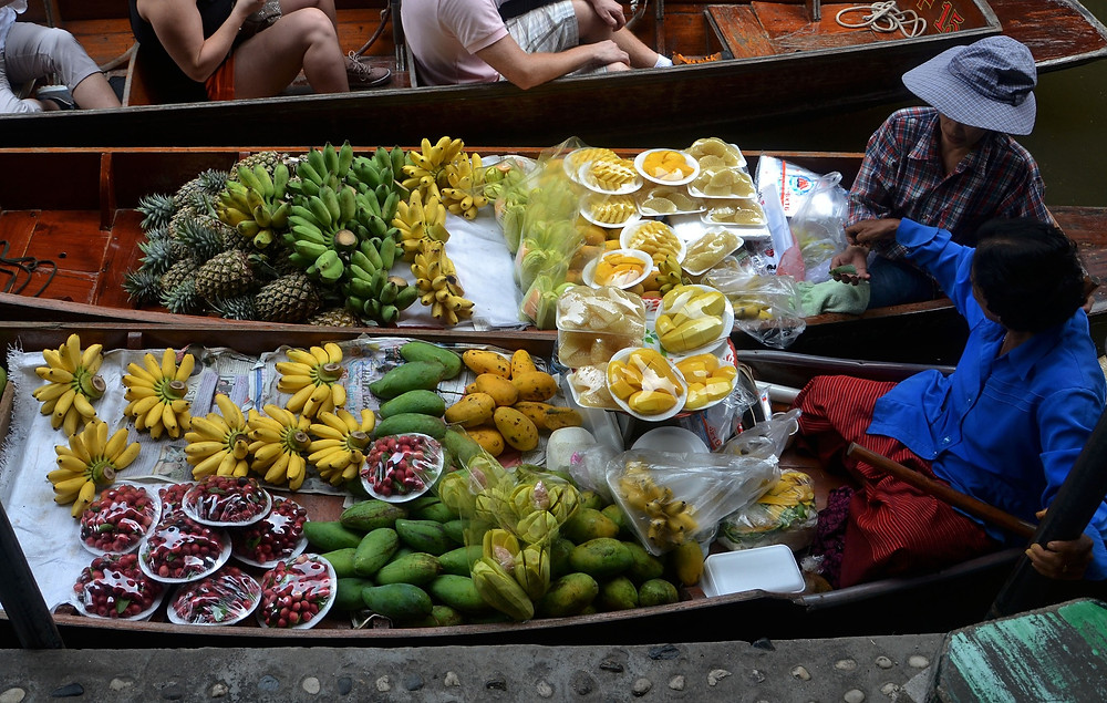 Fresh Thai produce at a Thai floating market