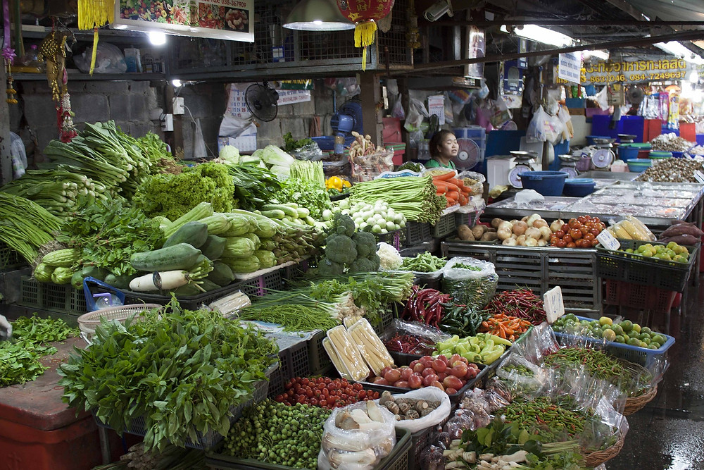 A vegetable stall at a Thai market