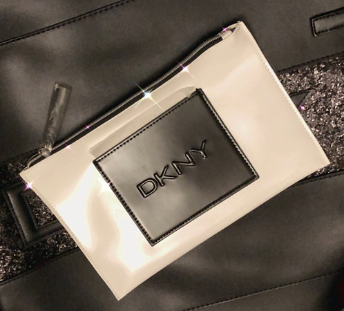DKNY White & Black Logo Zip Pouch