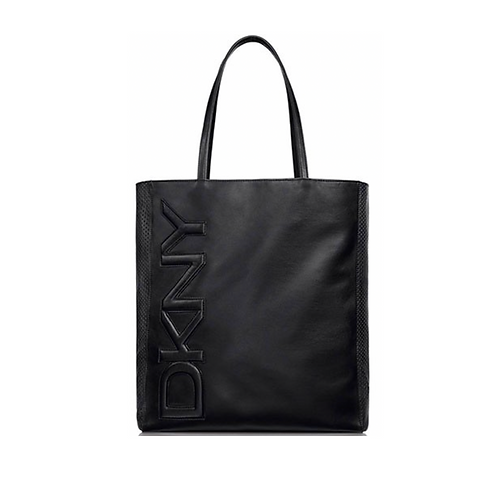 DKNY Black Mesh Faux Leather Logo Tote Bag