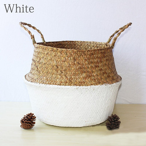 Handmade Woven Storage Basket Folding Clthoes Laundry Basket Straw Wicker Ratta