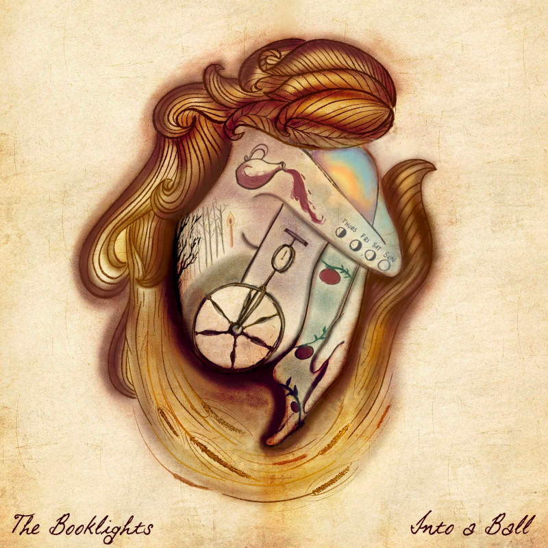 The EP artwork for New York folk band The Booklights' debut EP, Into a Ball.