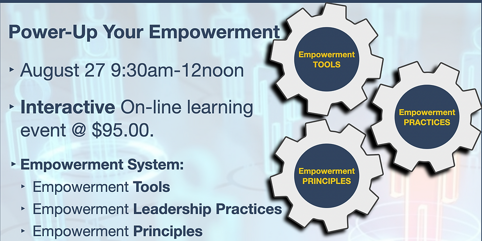 """Online """"Power-Up"""" Your Empowerment August 27  9:30am-12noon"""