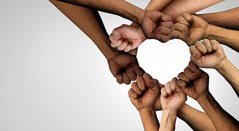 Peaceful Protest group and protester unity and diversity partnership as heart hands in a f