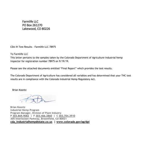 Inspection Passed Farmlife LLC 78975