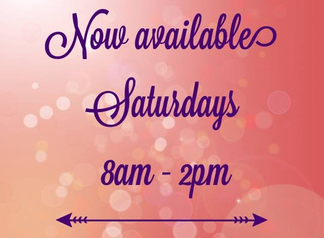 Now available Saturdays