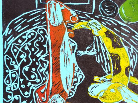 Grafika, linoryt kolorowy.