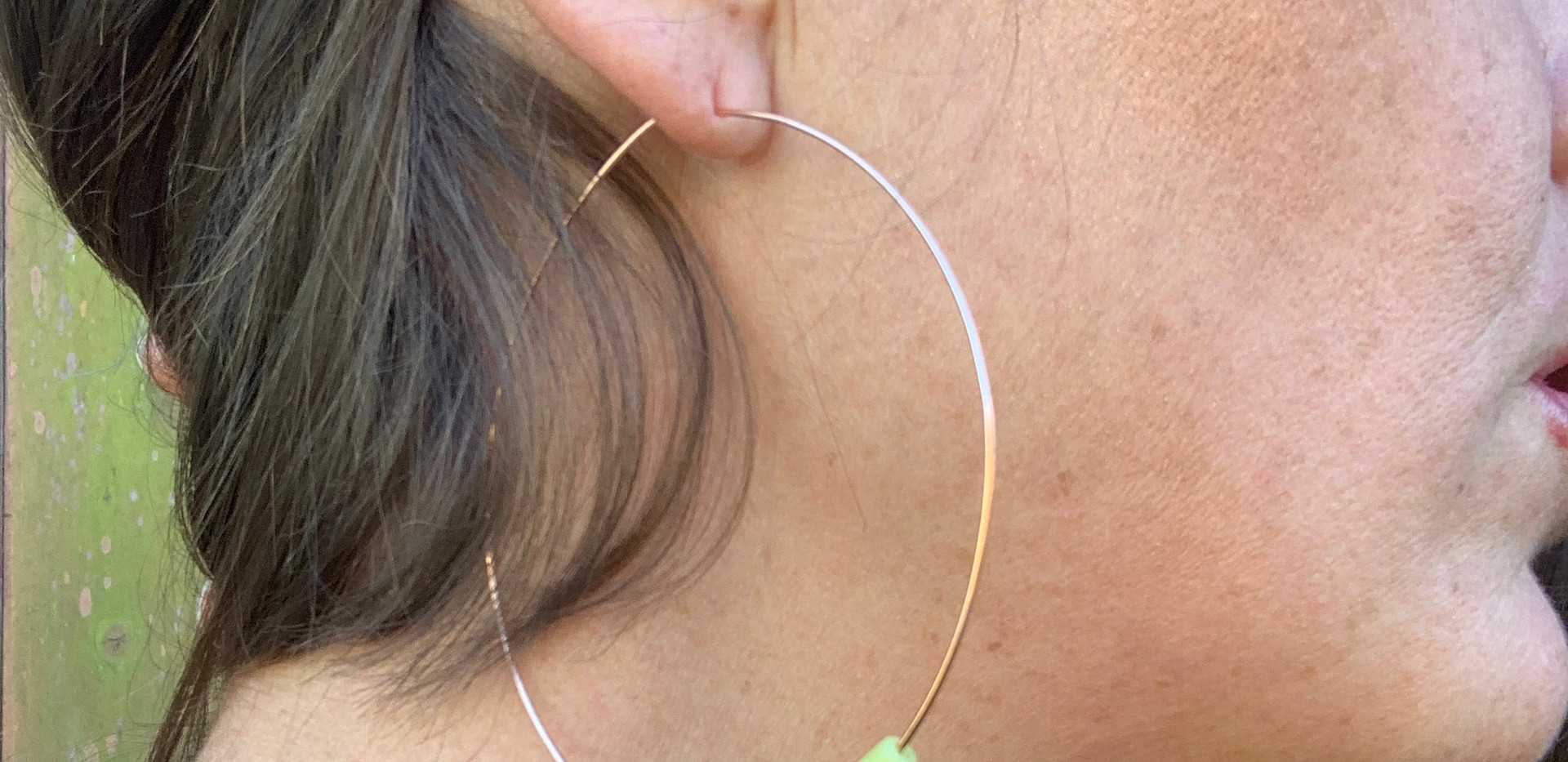 Raw Peridot On Handmade Copper Hoops