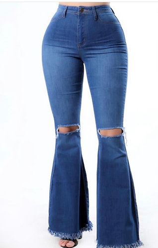 Ripped Bell Bottom Jeans