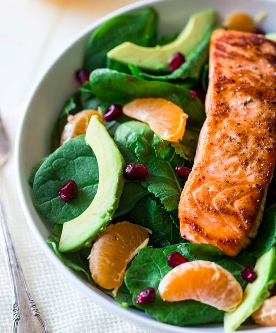 Healthy fats avocado salmon