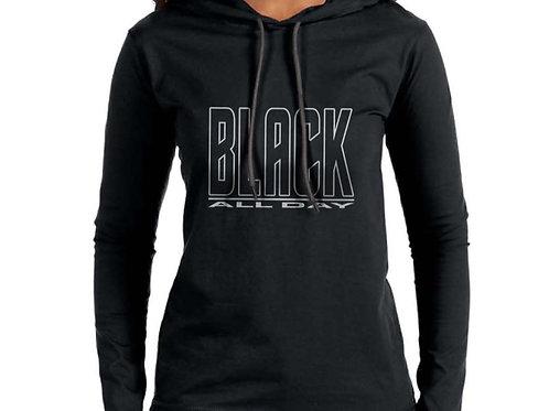 Black All Day Women's Hooded T-Shirt
