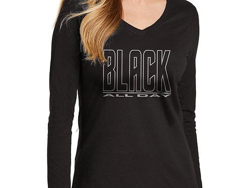Black All Day Women's Long Sleeve V-Neck