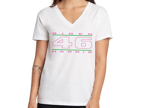 """""""46"""" Pink & Green Women's V-Neck"""
