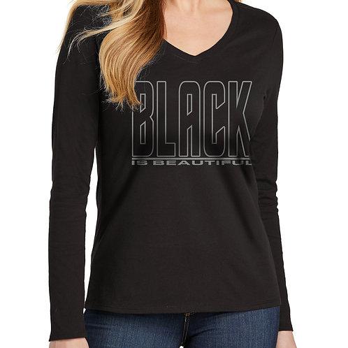 Black is Beautiful Women's Long Sleeve V-Neck