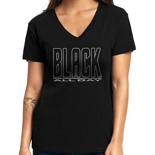 Black All Day Women's V-Neck