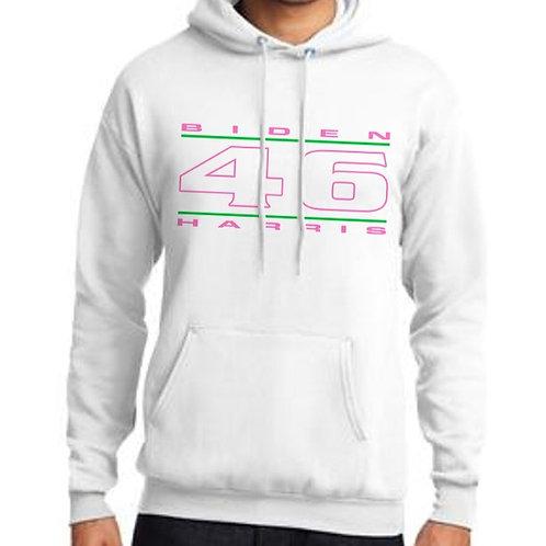 """46"" Pink & Green Unisex Hooded Sweatshirt"