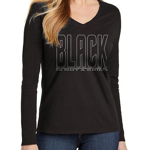 Black is Not a Crime Women's Long Sleeve V-Neck