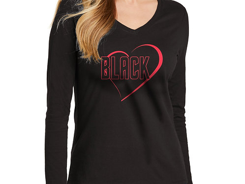 Black Love Women's Long Sleeve V-Neck