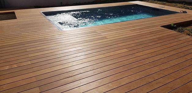 Terrasse bois exotique ipé; plage de piscine. Magny le hongre lmj77