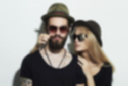 Couple Wearing Hats and Sunglasses