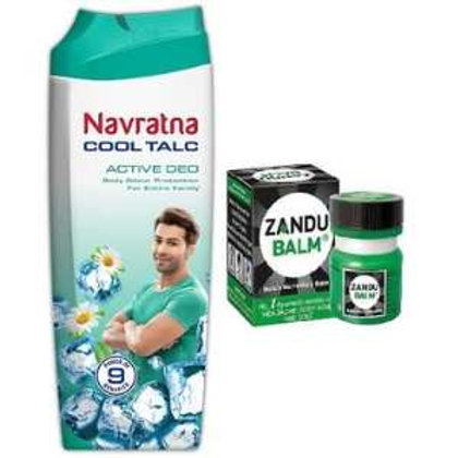 Navratna cool talc,Active deo Powder, 100g(Free Balm 8ml)