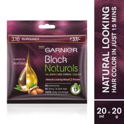garnier Black Naturals Oil-enriched Cream Colour-3.16 Natural Burgundy ,20g+20ml