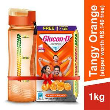 Glucon D Instant Energy Health Drink Tangy Orange,with free Bottel 140