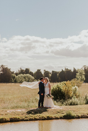 Bride and groom on a sunny day