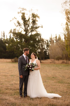 Bride and groom in afternoon photo