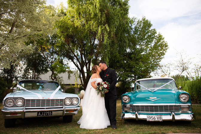 Newlyweds with cars